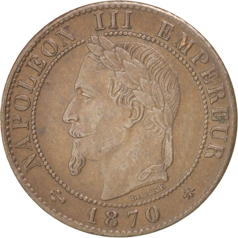 France, Napoléon III, Centime, 1870, Paris, TTB, Bronze, KM:795.1