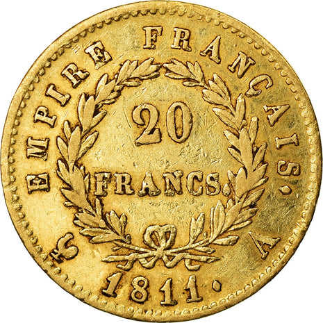 Monnaie, France, Napoléon I, 20 Francs, 1811, Paris, TTB, Or, Gadoury:1025