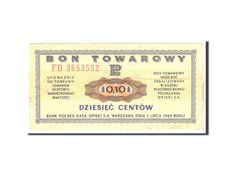 Pologne, 10 Cents, 1969, Undated, KM:FX24, TB