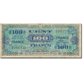 France, 100 Francs, 1945 Verso France, 1945, 1944, TB, Fayette:VF 25.5, KM:123a