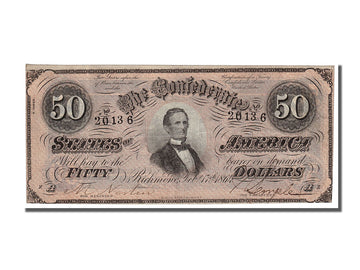 Billet, Confederate States of America, 50 Dollars, 1864, 1864-02-17, TTB