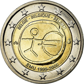 Belgique, 2 Euro, 10th Anniversary of EMU, 2009, SUP, Bi-Metallic, KM:282