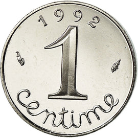 Monnaie, France, Épi, Centime, 1992, Paris, BE, FDC, Stainless Steel, Gad 91b