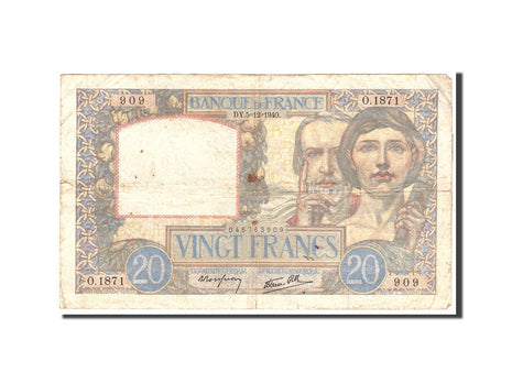 Billet, France, 20 Francs, 1940, 1940-12-05, TB, Fayette:12.10, KM:92b