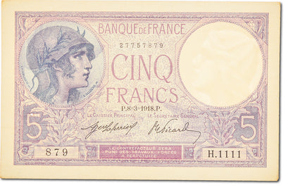 Billet, France, 5 Francs, 5 F 1917-1940 ''Violet'', 1918, 1918-03-08, SPL