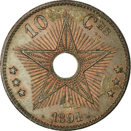 Monnaie, CONGO FREE STATE, Leopold II, 10 Centimes, 1894, TTB, Cuivre, KM:4