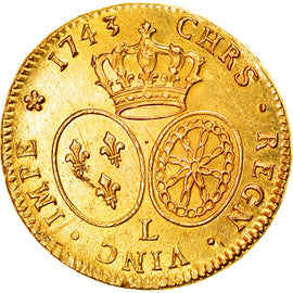 Monnaie, France, Louis XV, Double louis d'or au bandeau, 2 Louis D'or, 1743
