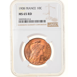 Monnaie, France, Dupuis, 10 Centimes, 1908, Paris, NGC, MS65RD, FDC, Bronze