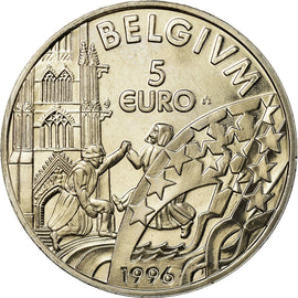 Belgique, 5 Euro, 1996, FDC, Copper-nickel