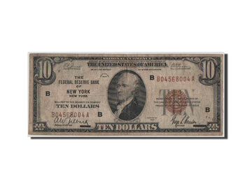 Etats-Unis, New York, Federal Reserve Bank, 10 Dollars 1929