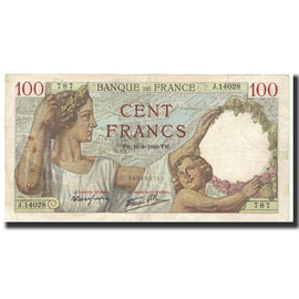 France, 100 Francs, Sully, 1940, 1940-08-16, TB+, Fayette:26.36, KM:94
