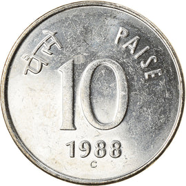Monnaie, INDIA-REPUBLIC, 10 Paise, 1988, SPL, Stainless Steel, KM:40.1