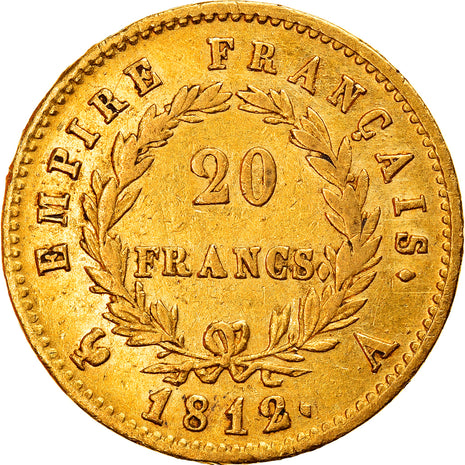 Monnaie, France, Napoléon I, 20 Francs, 1812, Paris, TTB, Or, Gadoury:1025