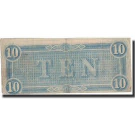 Billet, Confederate States of America, 10 Dollars, 1864, 1864-02-17, KM:68, TB+
