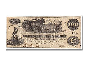 Billet, Confederate States of America, 100 Dollars, 1862, 1862-08-01, SUP