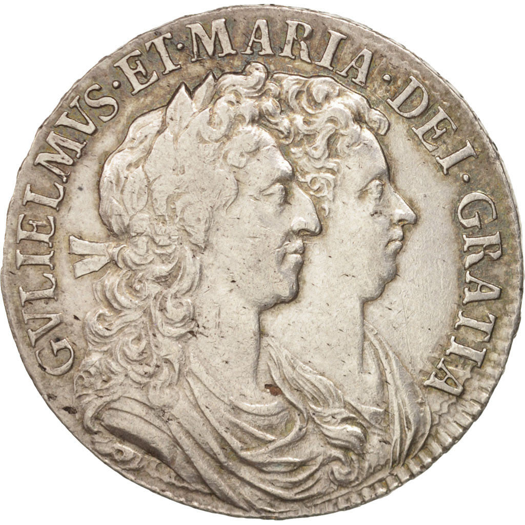Grande-Bretagne, William and Mary, 1/2 Crown, 1689, TTB, Argent, KM:472.1