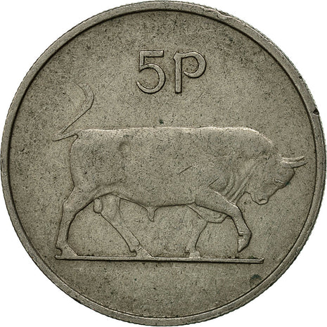 IRELAND REPUBLIC, 5 Pence, 1971, TTB, Copper-nickel, KM:22