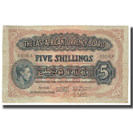 Billet, EAST AFRICA, 5 Shillings, 1943, 1943-09-01, KM:28b, TB