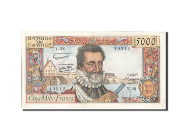 France, 5000 Francs, 5 000 F 1957-1958 ''Henri IV'', 1958, 1958-01-02, KM:135...