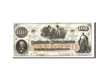 Billet, Confederate States of America, 100 Dollars, 1862, 1862-08-26, KM:45, SUP