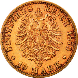 Monnaie, Etats allemands, PRUSSIA, Wilhelm I, 10 Mark, 1879, Cleves, TTB, Or