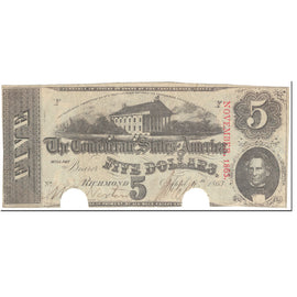 Billet, Confederate States of America, 5 Dollars, 1863, 1863-04-06, Richmond