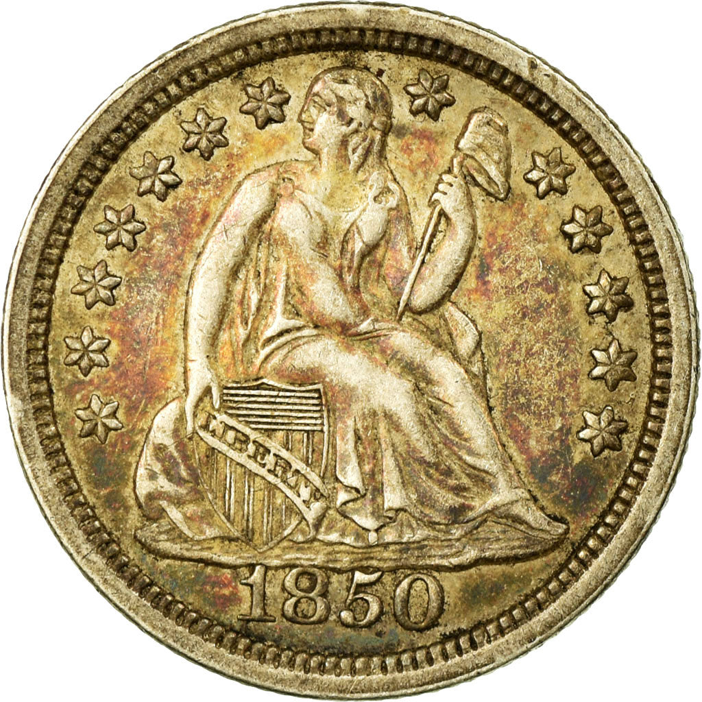 Monnaie, États-Unis, Seated Liberty Dime, Dime, 1850, U.S. Mint, Philadelphie