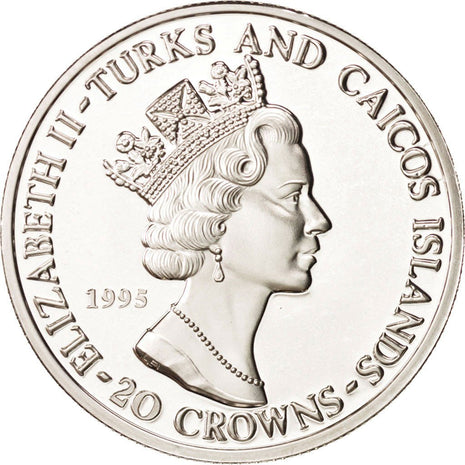 Monnaie, TURKS & CAICOS ISLANDS, Elizabeth II, 20 Crowns, 1995, FDC, Argent