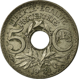 Monnaie, France, Lindauer, 5 Centimes, 1931, Paris, TB+, Copper-nickel