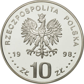 Monnaie, Pologne, 10 Zlotych, 1998, FDC, Argent, KM:341