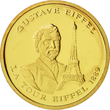 France, Medal, Gustave Eiffel, History, 2009, FDC, Or
