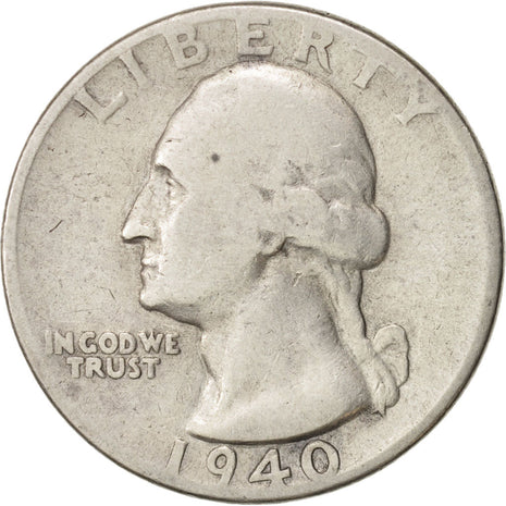 Monnaie, États-Unis, Washington Quarter, Quarter, 1940, U.S. Mint