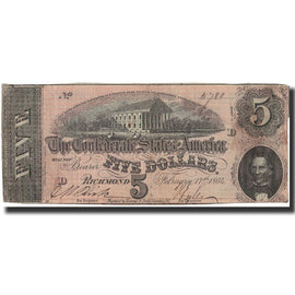 Billet, Confederate States of America, 5 Dollars, 1864, 1864-02-17, KM:67, TB