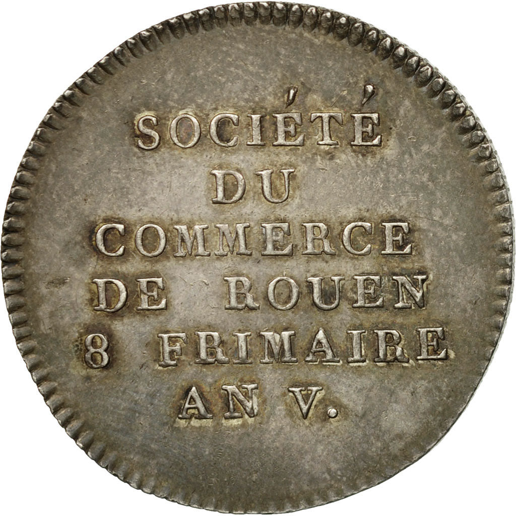 France, Jeton, Chamber of Commerce, Chambre de Commerce de Rouen, 1797, SUP+