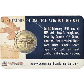 Malte, 2 Euro, First Flight from Malta, 2015, FDC, Bi-Metallic