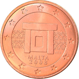 Malte, 2 Euro Cent, 2008, Paris, SPL, Copper Plated Steel, KM:126