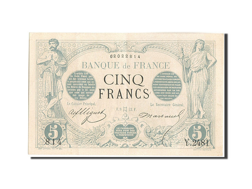 France, 5 Francs, 5 F 1871-1874 ''Noir'', 1873, 1873-05-09, KM:60, SUP+, Faye...