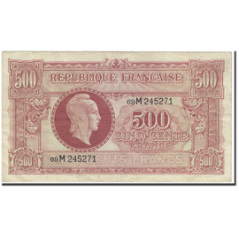 France, 500 Francs, Marianne, 1945, Undated (1945), TB, Fayette:VF11.2, KM:106