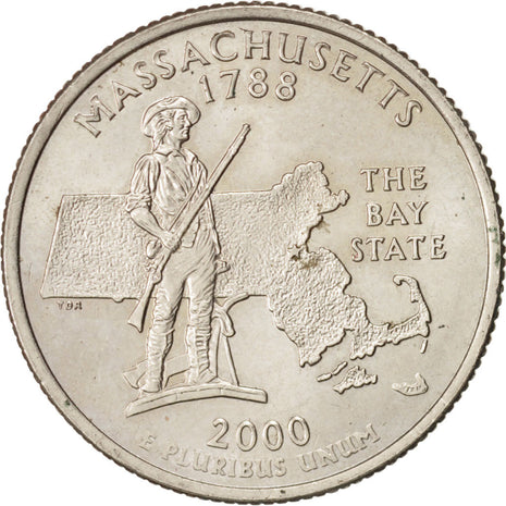 États-Unis, State Quarter, 2000, Denver, Massachusetts, KM:305