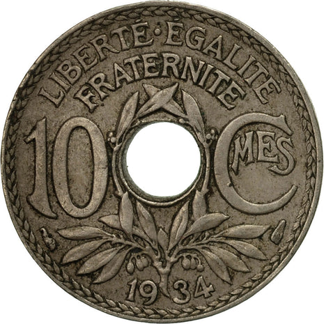 Monnaie, France, Lindauer, 10 Centimes, 1934, Paris, TB+, Copper-nickel