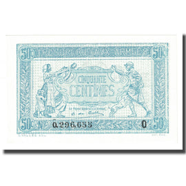 France, 50 Centimes, 1917-1919 Army Treasury, Undated (1917), SPL