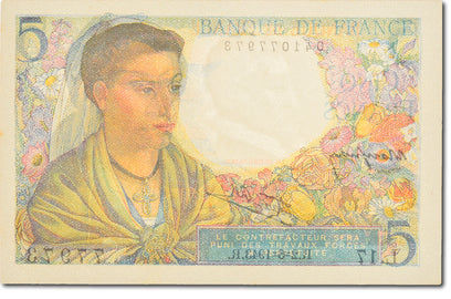 Billet, France, 5 Francs, 5 F 1943-1947 ''Berger'', 1943, 1943-06-02, NEUF