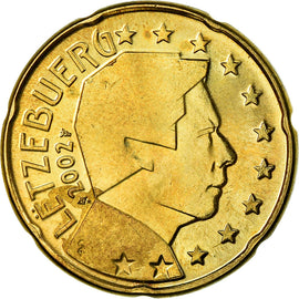 Luxembourg, 20 Euro Cent, 2002, SUP, Laiton, KM:79