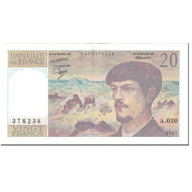 France, 20 Francs, Debussy, 1987, Undated (1987), SUP, Fayette:66.8, KM:151a