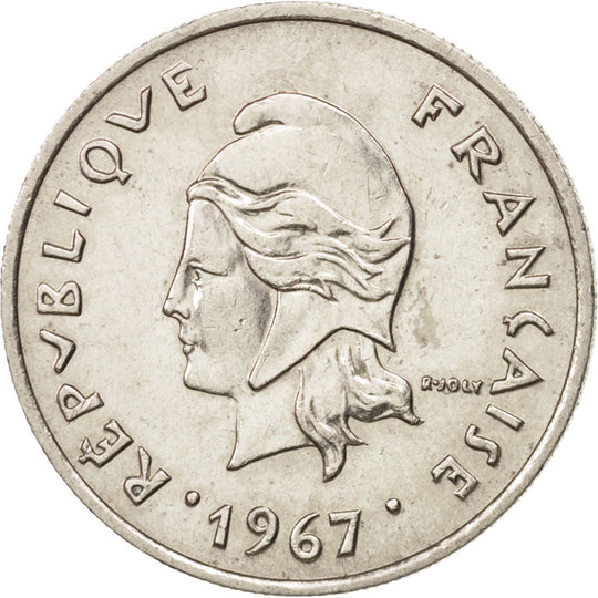 French Polynesia, 10 Francs, 1967, SUP, Nickel, KM:5