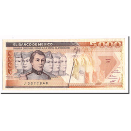 Billet, Mexique, 5000 Pesos, 1987, 1987-02-24, KM:88b, SUP