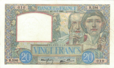 France, 20 Francs, Science et Travail, 1940, 1940-07-11, SPL, Fayette:12.04