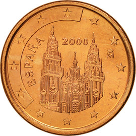 Espagne, 5 Euro Cent, 2000, SPL, Copper Plated Steel, KM:1042