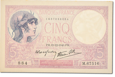 Billet, France, 5 Francs, 5 F 1917-1940 ''Violet'', 1940, 1940-12-12, NEUF