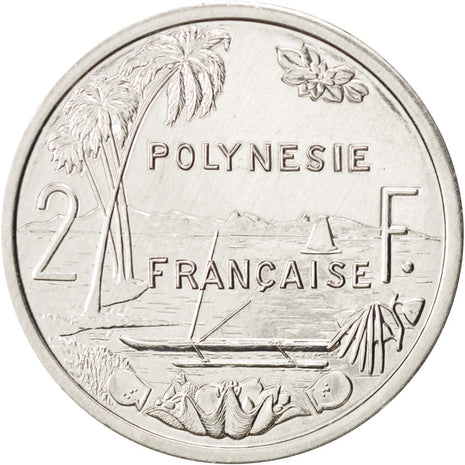 French Polynesia, 2 Francs, 2002, Paris, Aluminium, KM:10